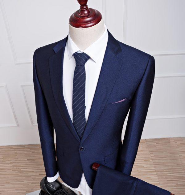 OSCN7 2 Pcs Dark Blue Suit Men Slim Fit Business Prom Groom Wedding ...