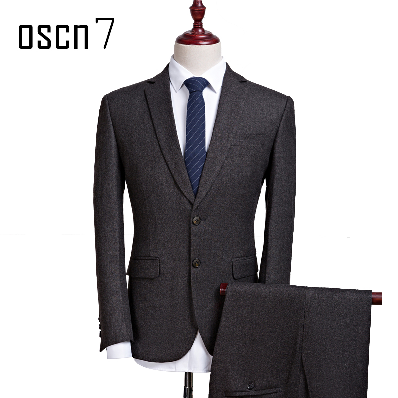 OSCN7 2 Pcs Dark Gray Suit Men Slim Fit Leisure 2017 Brand Business ...