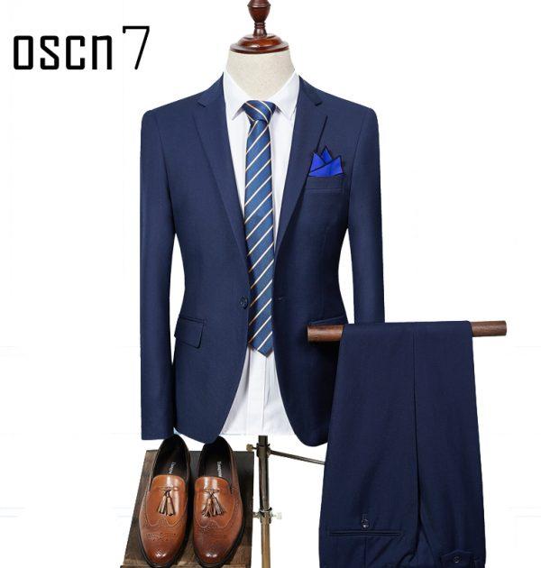 3e8d035af6b7 OSCN7 2 Pcs Solid Suit Men Slim Fit Business Wedding Suits For Men 2017