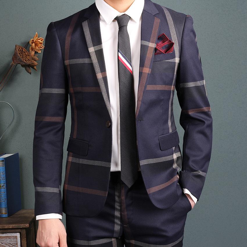 Oscn7 Navy Blue Slim Fit Plaid Suit Men Notch Lapel Business Formal