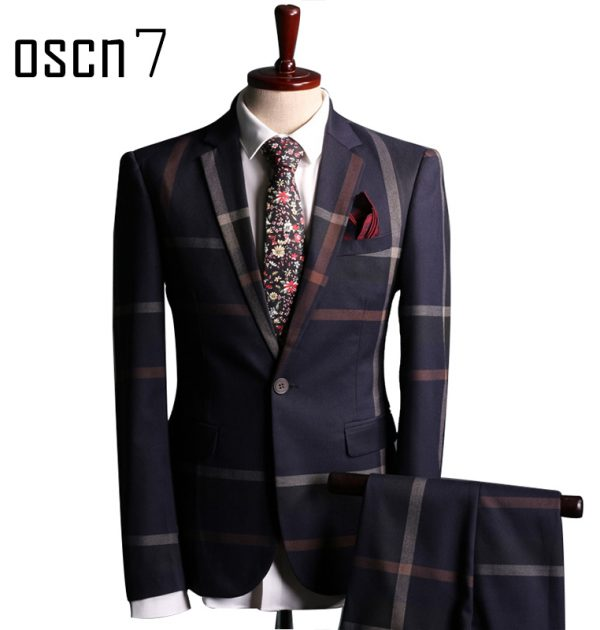 OSCN7-Navy-Blue-Slim-Fit-Plaid-Suit-Men-Main