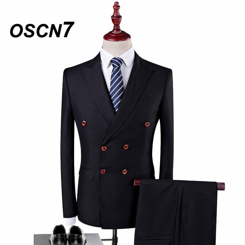 OSCN7 Double Breasted Suit Men 3 Piece Suits Black
