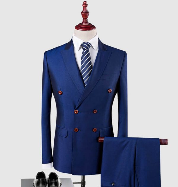 OSCN7 Double Breasted Suit Men 3 Piece Suits Blue