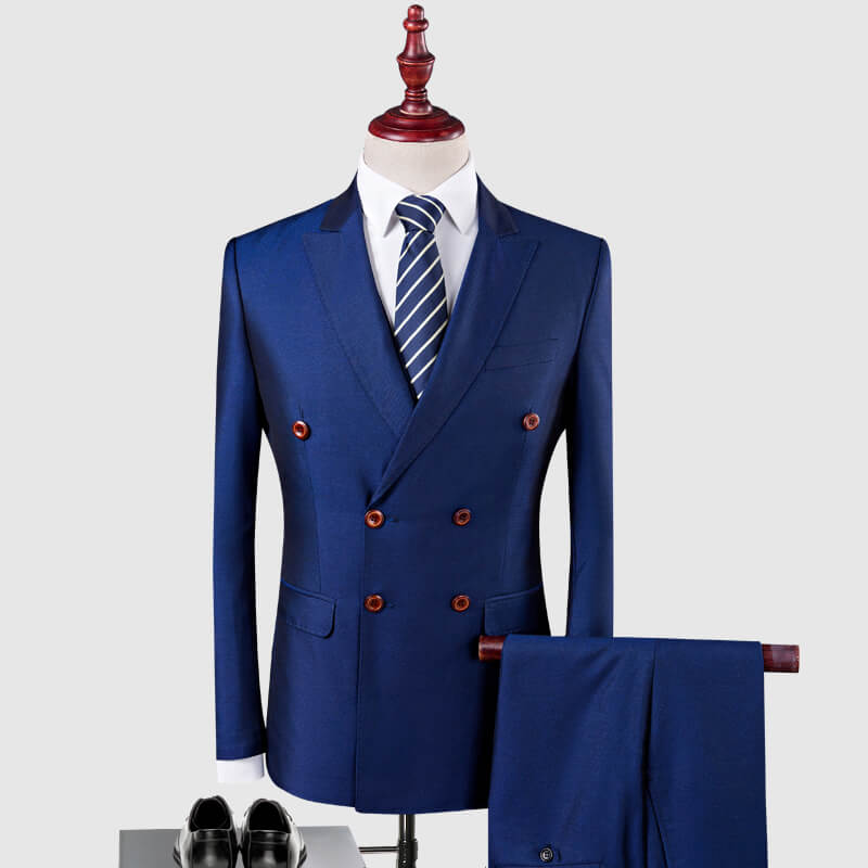 OSCN7 Double Breasted Suit Men 3 Piece 2018 Fashion Wedding Dress ...