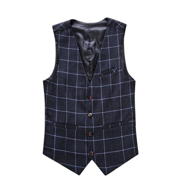 OSCN7 Plaid Colete Masculino Slim Fit Leisure Waistcoat Navy Blue