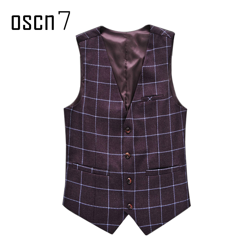 OSCN7 Plaid Colete Masculino Slim Fit Leisure Waistcoat Wine Red