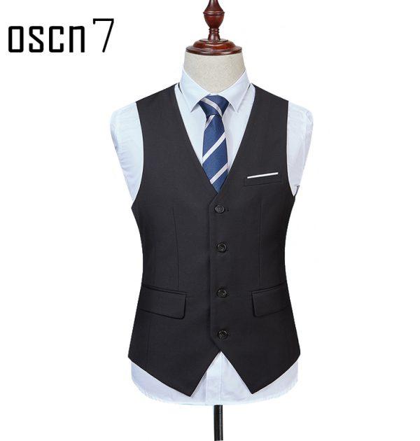OSCN7 Solid Colete Masculino Fashion 2017 Slim Fit Leisure Mens Vest Black