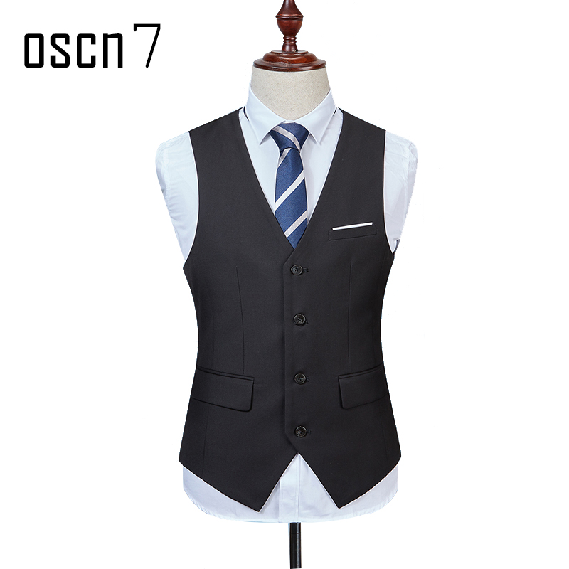 OSCN7 Solid Colete Masculino Fashion 2017 Slim Fit Leisure Mens Vest Black