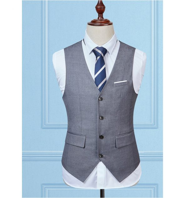 OSCN7 Solid Colete Masculino Fashion 2017 Slim Fit Leisure Mens Vest Gray