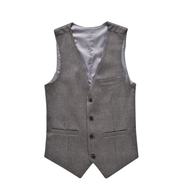 OSCN7 Solid Colete Masculino Fashion 2017 Slim Fit Leisure Mens Vest Suit Gray