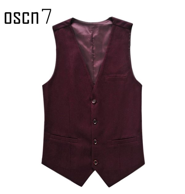 OSCN7 Solid Colete Masculino Fashion 2017 Slim Fit Leisure Mens Vest Suit Red