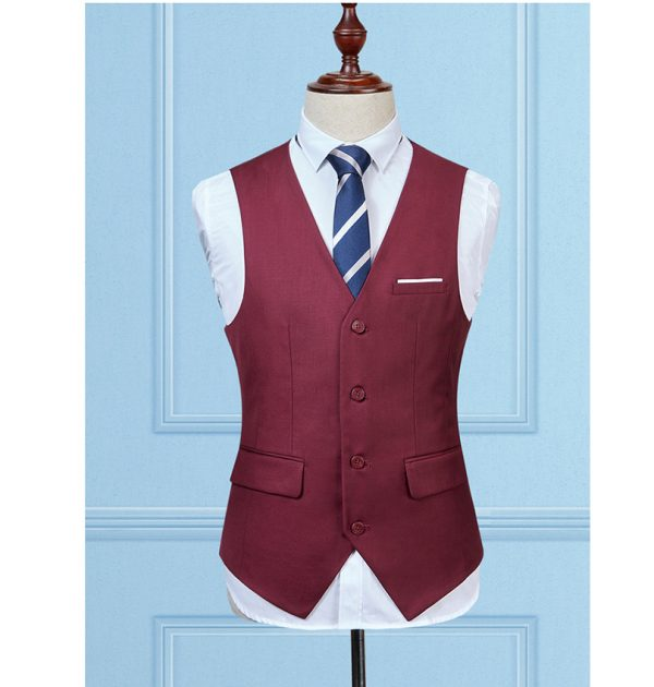 OSCN7 Solid Colete Masculino Fashion 2017 Slim Fit Leisure Mens Vest Wine Red