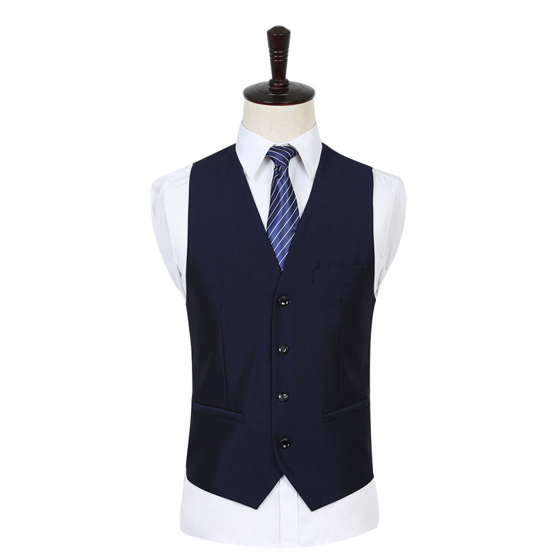 OSCN7 Solid Color Men Suit Vest Slim Fit Blue