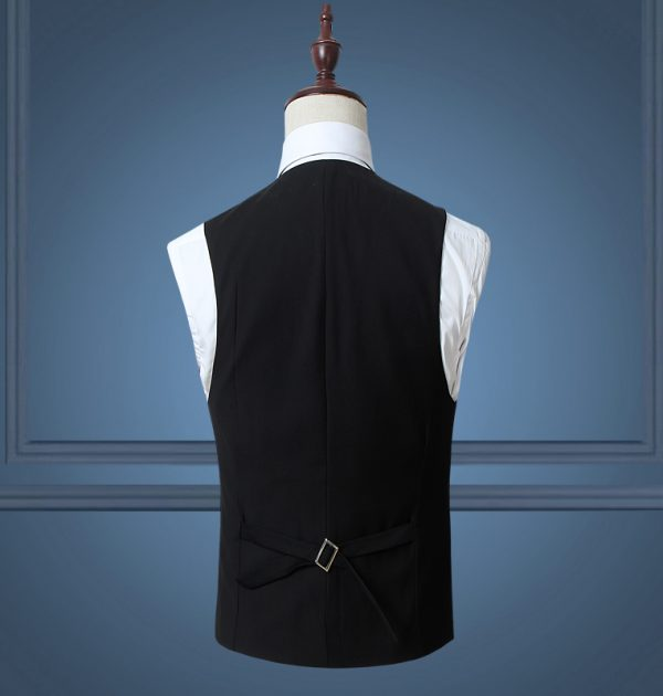 OSCN7 Solid Mens Vest Suit Slim Fit Business Formal Colete Masculino Back View