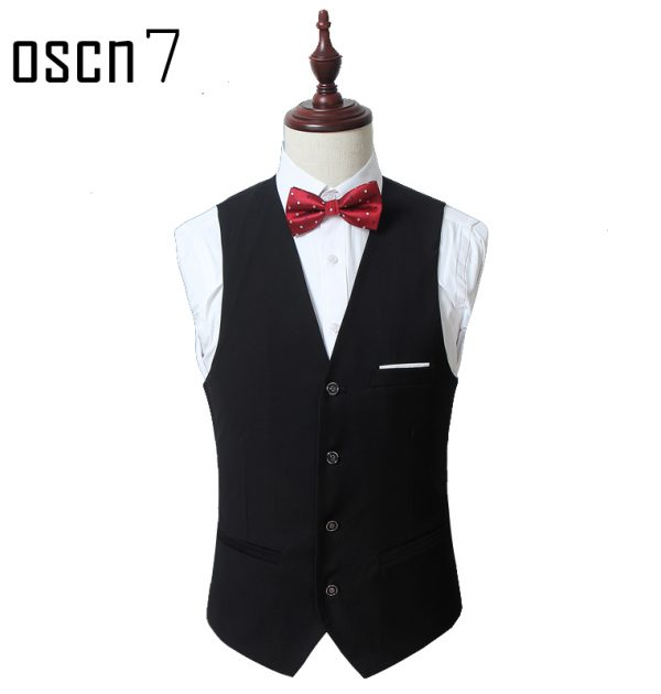 OSCN7 Solid Mens Vest Suit Slim Fit Business Formal Colete Masculino Black