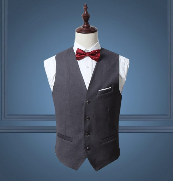 OSCN7 Solid Mens Vest Suit Slim Fit Business Formal Colete Masculino Gray