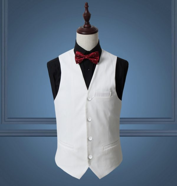 OSCN7 Solid Mens Vest Suit Slim Fit Business Formal Colete Masculino White
