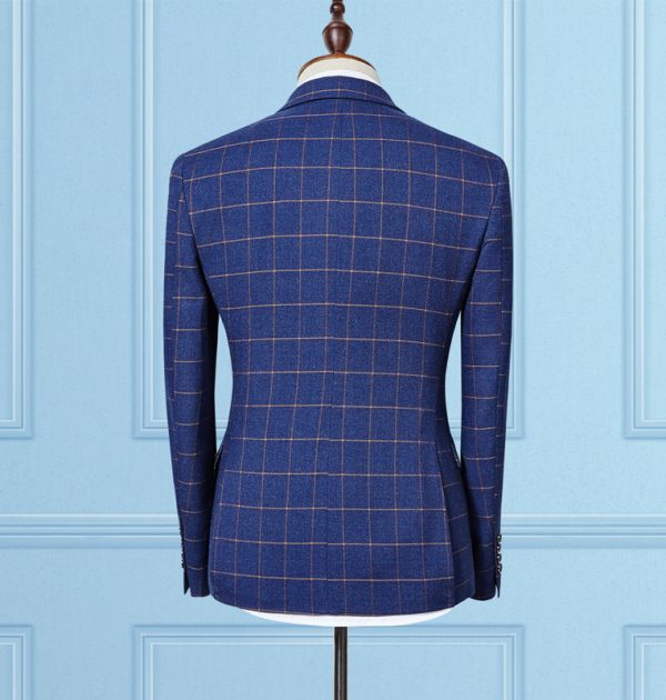 OSCN7 3 Pcs Plaid Suits Double Breasted Navy Blue Back