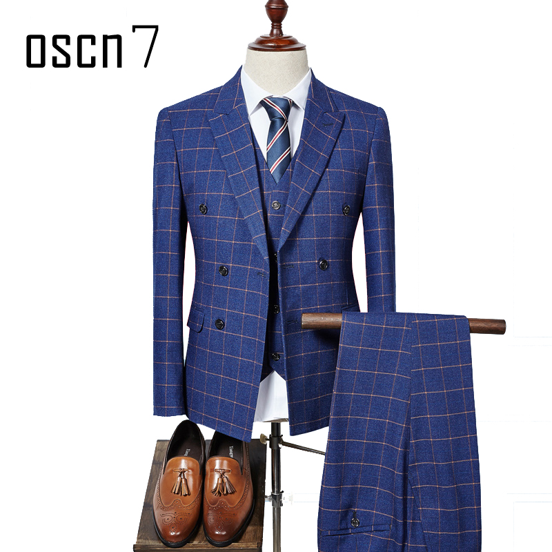 OSCN7 3 Pcs Plaid Suits Double Breasted Navy Blue