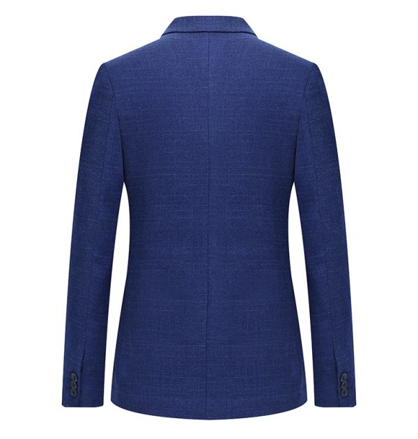 OSCN7 Blue Stripe Slim Fit Blazer Back View