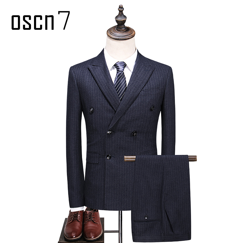 OSCN7 Double Breasted 3 Piece Suit Men Striped Gray