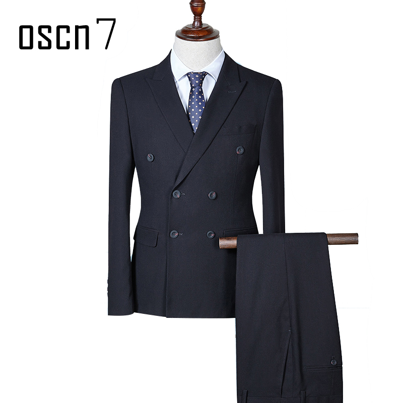 OSCN7 Double Breasted Suit Men 3 Piece Wedding Dress Suits for Men