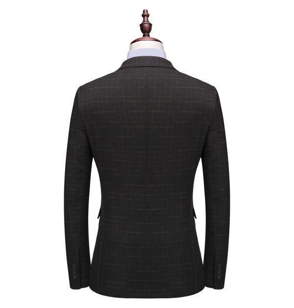 OSCN7 Double Breasted Suit Men Slim Fit Leisure Office Formal Black Back