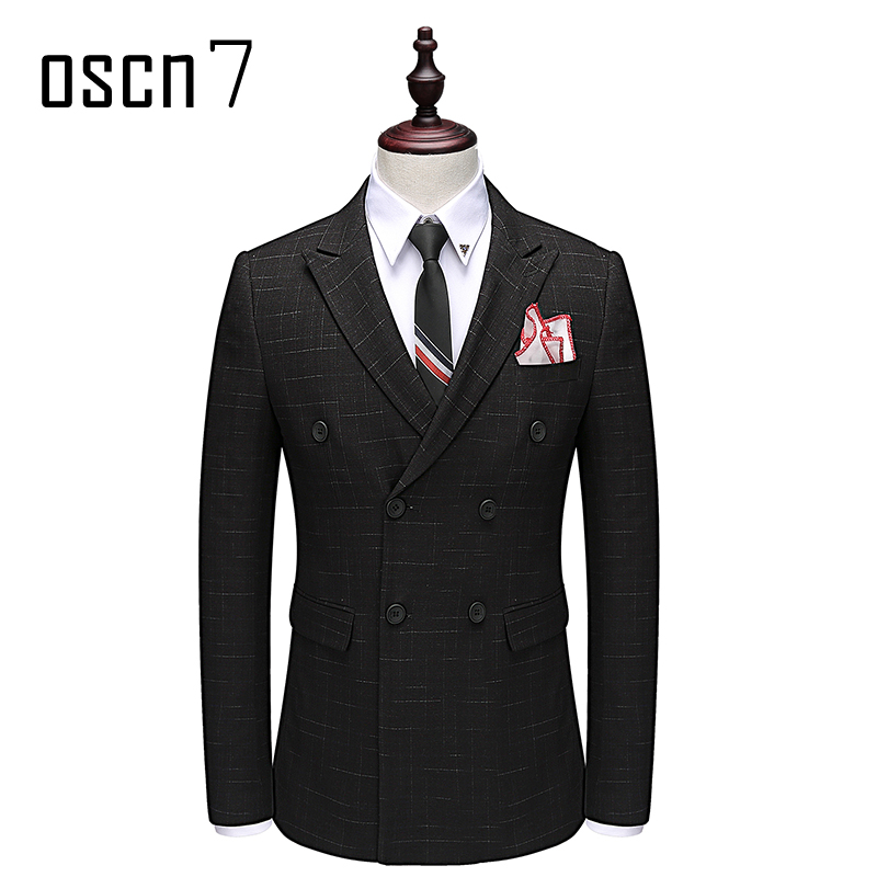 OSCN7 Double Breasted Suit Men Slim Fit Leisure Office Formal Black