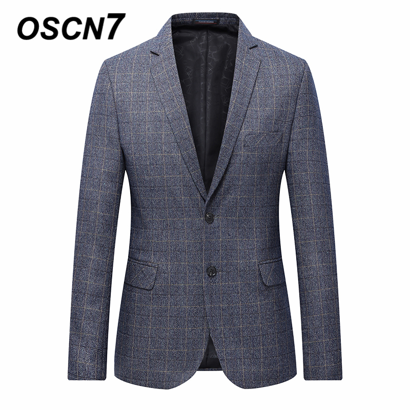 OSCN7 Grey Check Casual Slim Fit Blazer