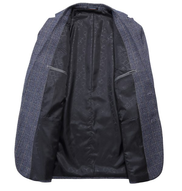 OSCN7 Grey Check Casual Slim Fit Blazer Inner