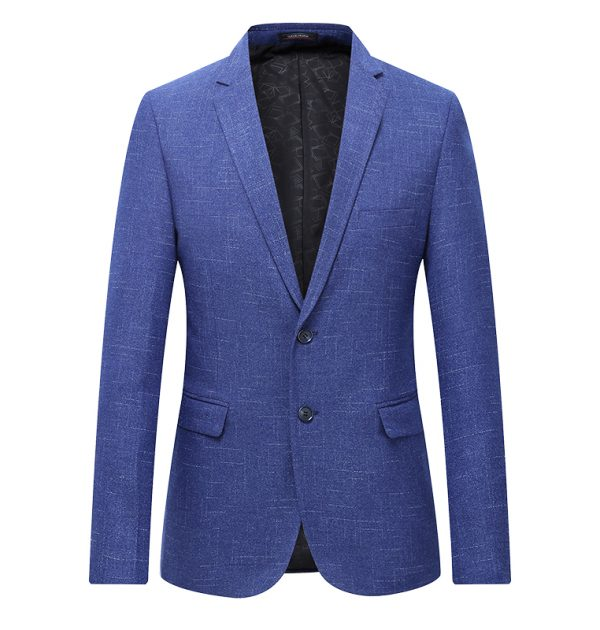 OSCN7 Grey Stripe Casual Blazer Blue