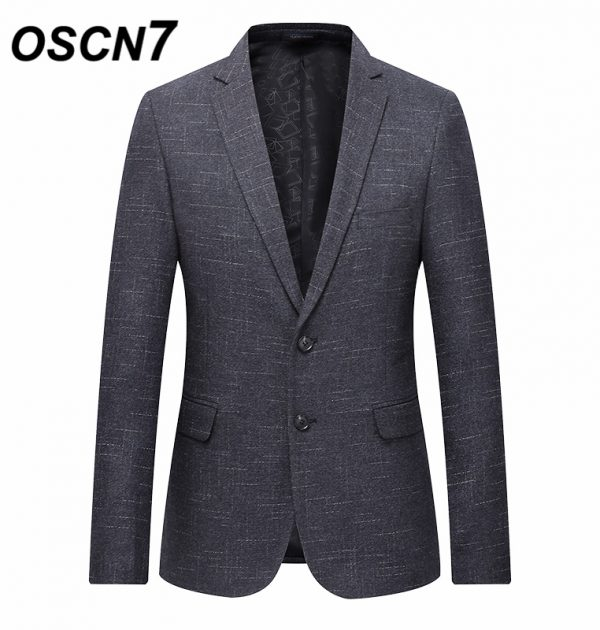 OSCN7 Gray Stripe Casual Blazer