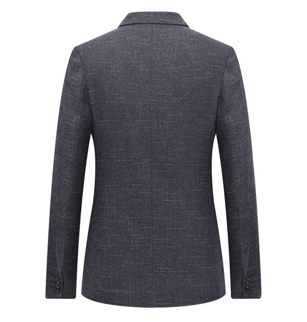 OSCN7 Grey Stripe Casual Blazer Back