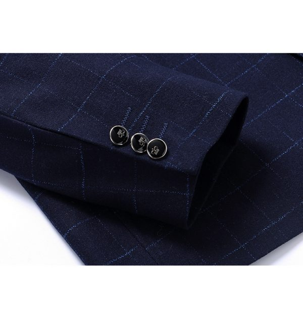 OSCN7 Navy Check Casual Slim Fit Blazer Button
