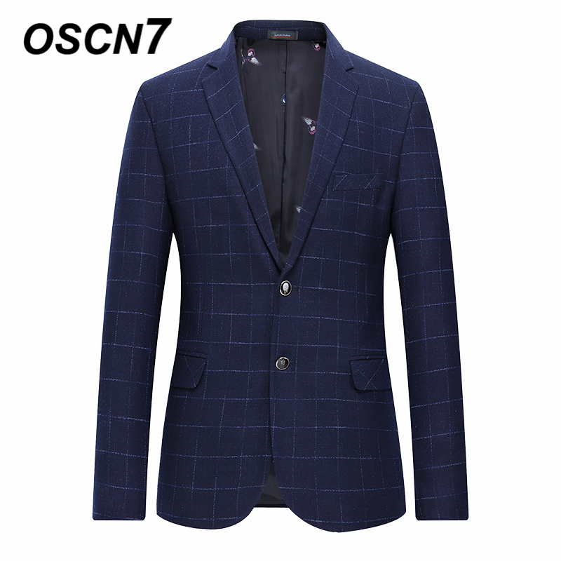 OSCN7 Navy Check Casual Slim Fit Blazer