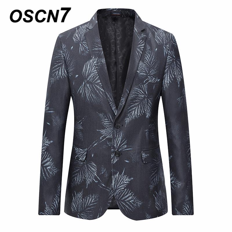 oscn7 partywear leaf print blazer men 2018 spring fashion