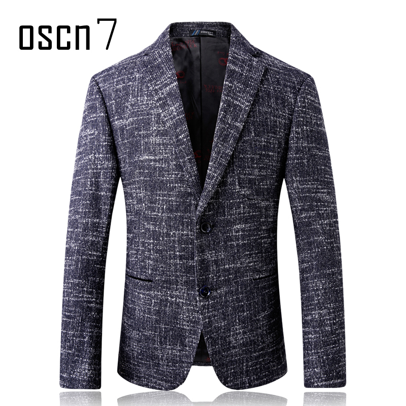Oscn7 Winter Stripes Mens Wool Blazer