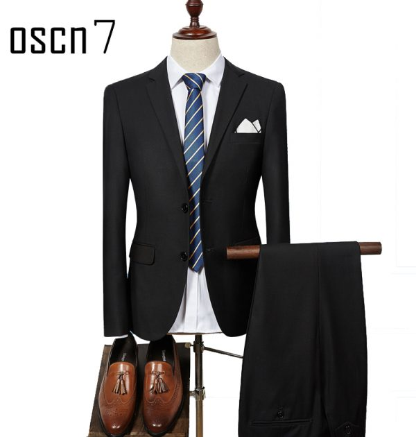 Oscn7 2 Pcs Solid Suit Men Slim Fit