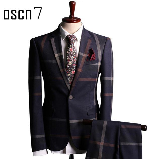 OSCN7-Navy-Blue-Slim-Fit-Plaid-Suit-Men-Main