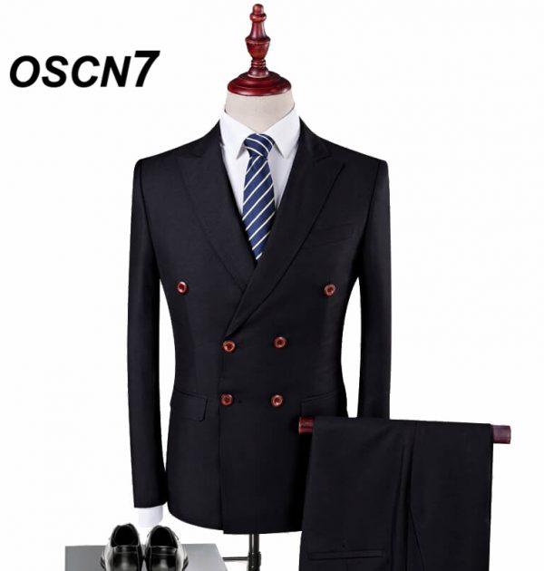 OSCN7 Double Breasted Suit Men 3 Piece Suits Black