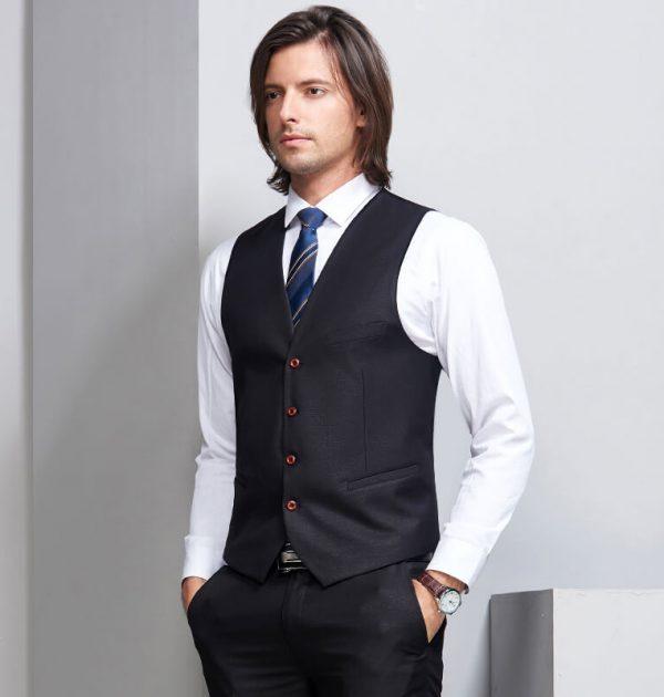 OSCN7 Double Breasted Suit Men 3 Piece Suits Black Vest