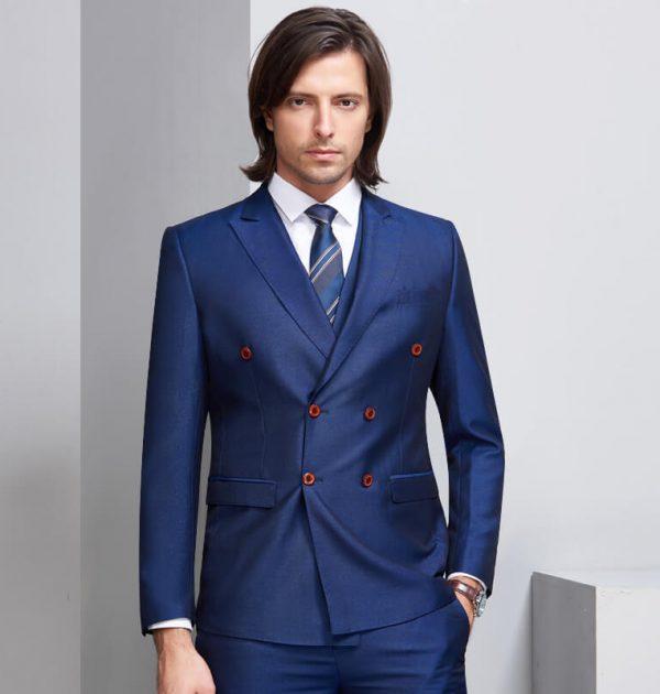 OSCN7 Double Breasted Suit Men 3 Piece Suits Blue Suit Vest Pants