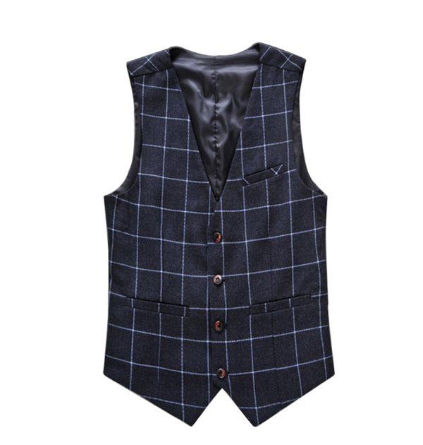 OSCN7 Plaid Colete Masculino Slim Fit Leisure Waistcoat Navy Blue