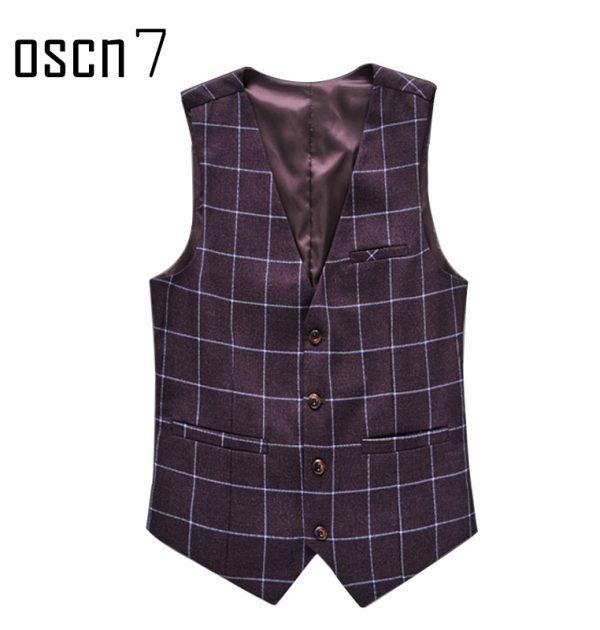 OSCN7 Plaid Colete Masculino Slim Fit Leisure Waistcoat Wine Red