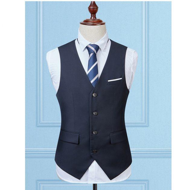 OSCN7 Solid Colete Masculino Fashion 2017 Slim Fit Leisure Mens Vest Navy Blue