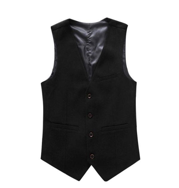 OSCN7 Solid Colete Masculino Fashion 2017 Slim Fit Leisure Mens Vest Suit Black