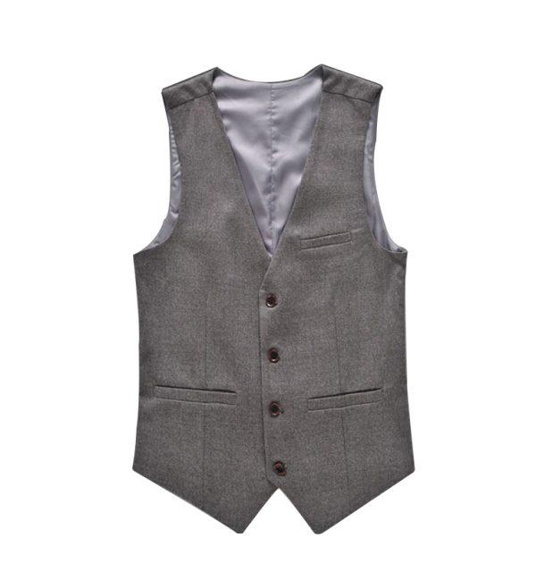 OSCN7 Solid Colete Masculino Fashion 2017 Slim Fit Leisure Mens Vest Suit Gray