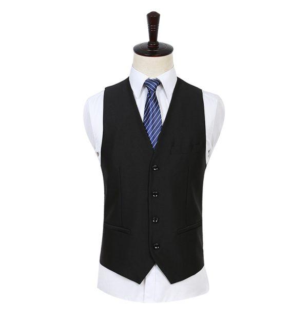 OSCN7 Solid Color Men Suit Vest Slim Fit Black