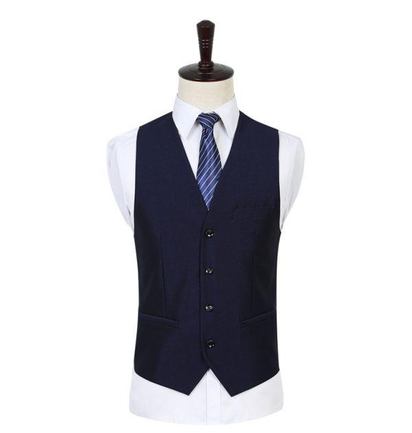 OSCN7 Solid Color Men Suit Vest Slim Fit Blue