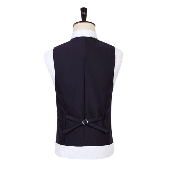 OSCN7 Solid Color Men Suit Vest Slim Fit Purple Back View